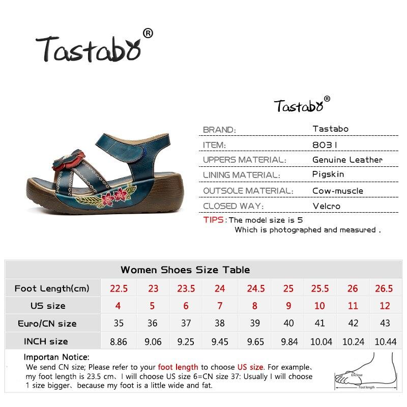 Tastabo 정품 가죽 검투사 샌들 패션 낮은 웨지 꽃 여름 신발 숙녀 플랫폼 샌들 신발 여성 플랫 신발-에서하이힐부터 신발 의  그룹 3