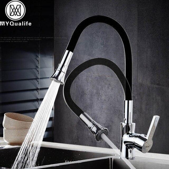 クローム黒キッチン蛇口柔軟なシリカゲル鼻浴室キッチンミキサーストリーム噴霧器注ぎ口ホットとコールド水クレーンコック