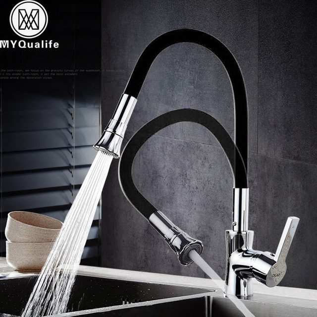 Chrome Black Kitchen Faucet Flexible Silica Gel Nose Bathroom