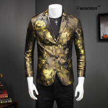 High Quality 5XL Plus Size Gold Mens Floral Blazer Slim Stage Costumes for Singers Evening Wear Prom Dress Terno Masculino 2017