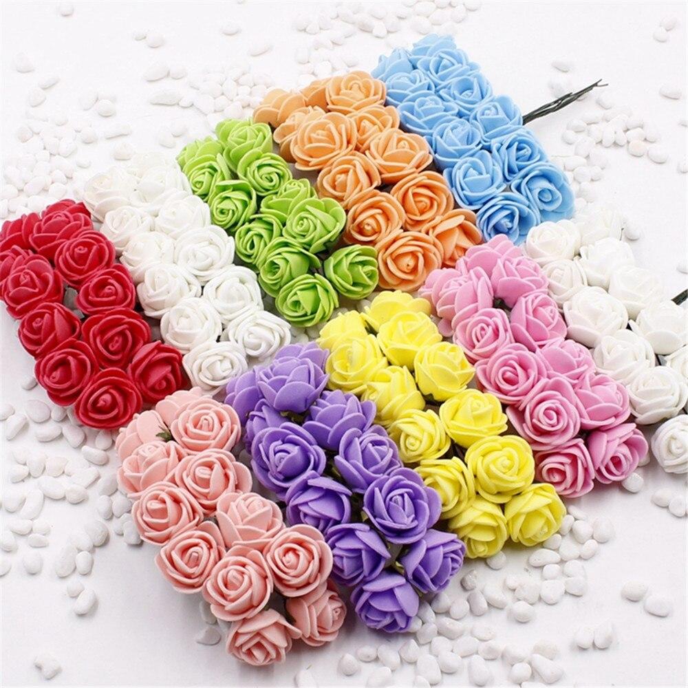 Миниатюрная Роза из пеноматериала шт. 2 см 144 искусственный цветок Букет Многоцветный розы свадебные скрапбукинг украшения розы поддельные