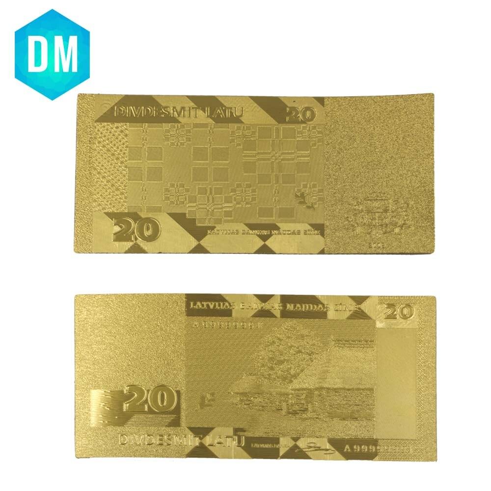 10pcs/lot 24k Gold Banknote Rare Latvia 20 Lat Edition Paper Money Gold Plated New Year Decor Gift
