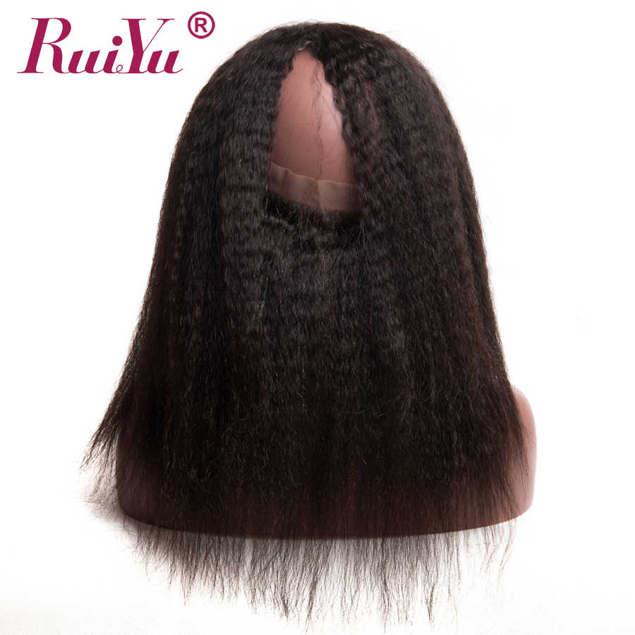 Peruvian Kinky Straight Hair Pre Plucked 360 Lace Frontal Closure With Baby Hair 100% Human Hair Remy Natural Color RUIYU Hair