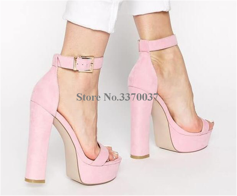 34b5e27f2d1c5 Women Fashion Style Open Toe Suede Leather High Platform Chunky Heel  Sandals Ankle Strap Thick High. sku: 32893213850
