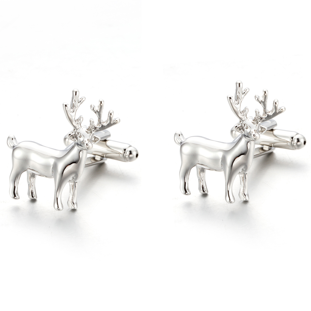 2018 New Cuff links Christmas Gift Copper Cufflink Novelty Gift French Button Present Deer Animal Men Jewelry Gemelos 771