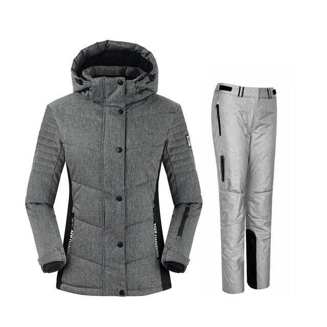 2019 livraison gratuite femmes combinaison de Ski imperméable combinaison de Ski de montagne épaissir veste de neige de Ski chaud + Snowboard femelle ensemble de Ski