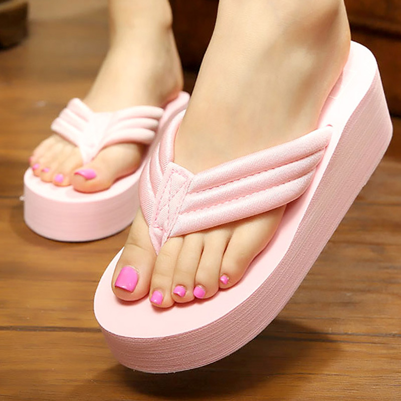 Summer shoes platform flip flops wedges slides slippers women beach shoes solid female slippers zapatos mujer plus size 35-41 цена 2017