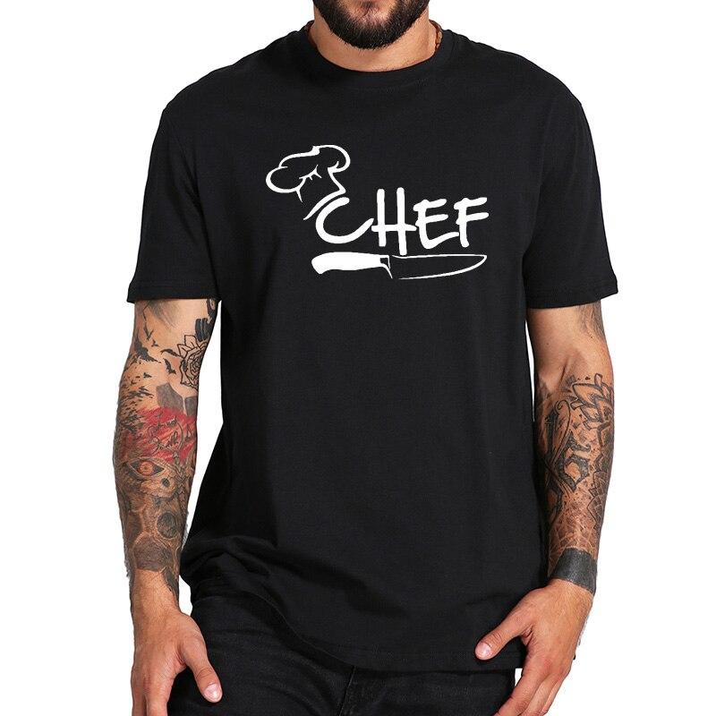 Chef   T     shirt   Funny Cook Tee cap kitchen knife Epicure Clothes High Quality O-neck Tops Cotton Restaurant   T  -  shirt   Men EU Size