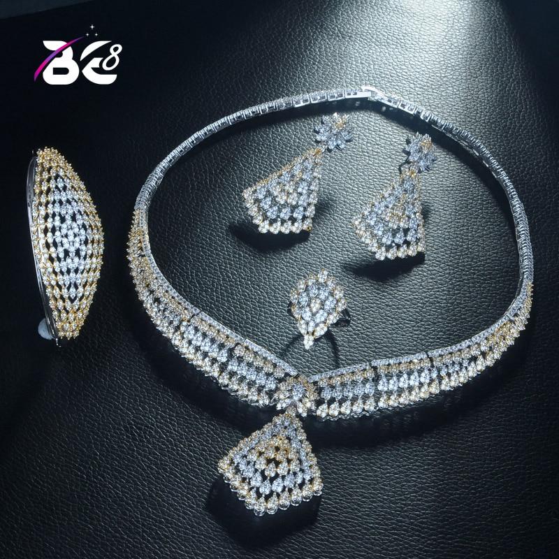 Be 8 grand luxe 4 pc ensemble de bijoux avec zircon cubique fête mariage saoudien arabe Dubai collier et boucle d'oreille et bracelet et bague ensembles S312