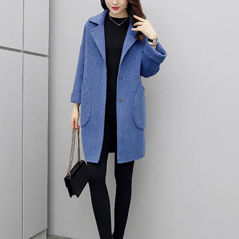 Abrigo largo de lana para mujer otoño ropa azul