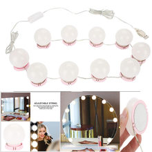Hollywood Style 10/12 LED Bulb Vanity Makeup Mirror Cold Light LED Vanity Mirror Lamp Kit Lens Headlight Lamp Accessory(China)