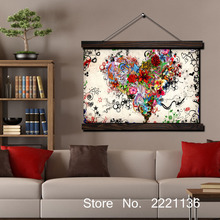 Flower Heart HD Print Scroll Paintings Wall Art Printed Hanging Framed Canvas Painting Modern Home Decoration