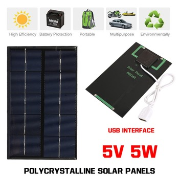 USB Solar Panel Outdoor 5W 5V Portable Solar Charger Pane Climbing Fast Charger Polysilicon Tablet Solar Generator Travel 4