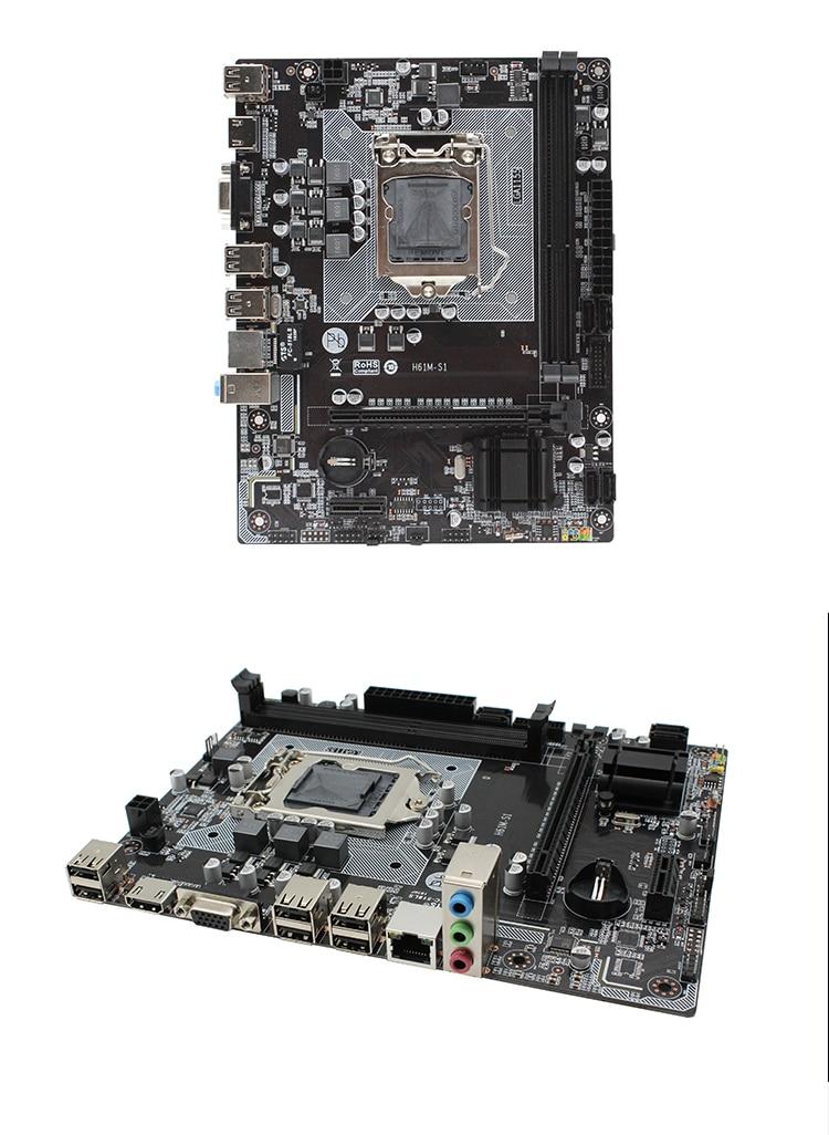 H61 H61M-S1 LGA 1155 desktop motherboard support socket LGA1155 DDR3 Mico-ATX For Intel i3/i5/i7 Integrated Graphics Mainboard 16