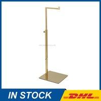 Free Shipping Adjustable Height Handbag Stand Display Metal Polished Gold Handbag Display Rack Women Bag Display
