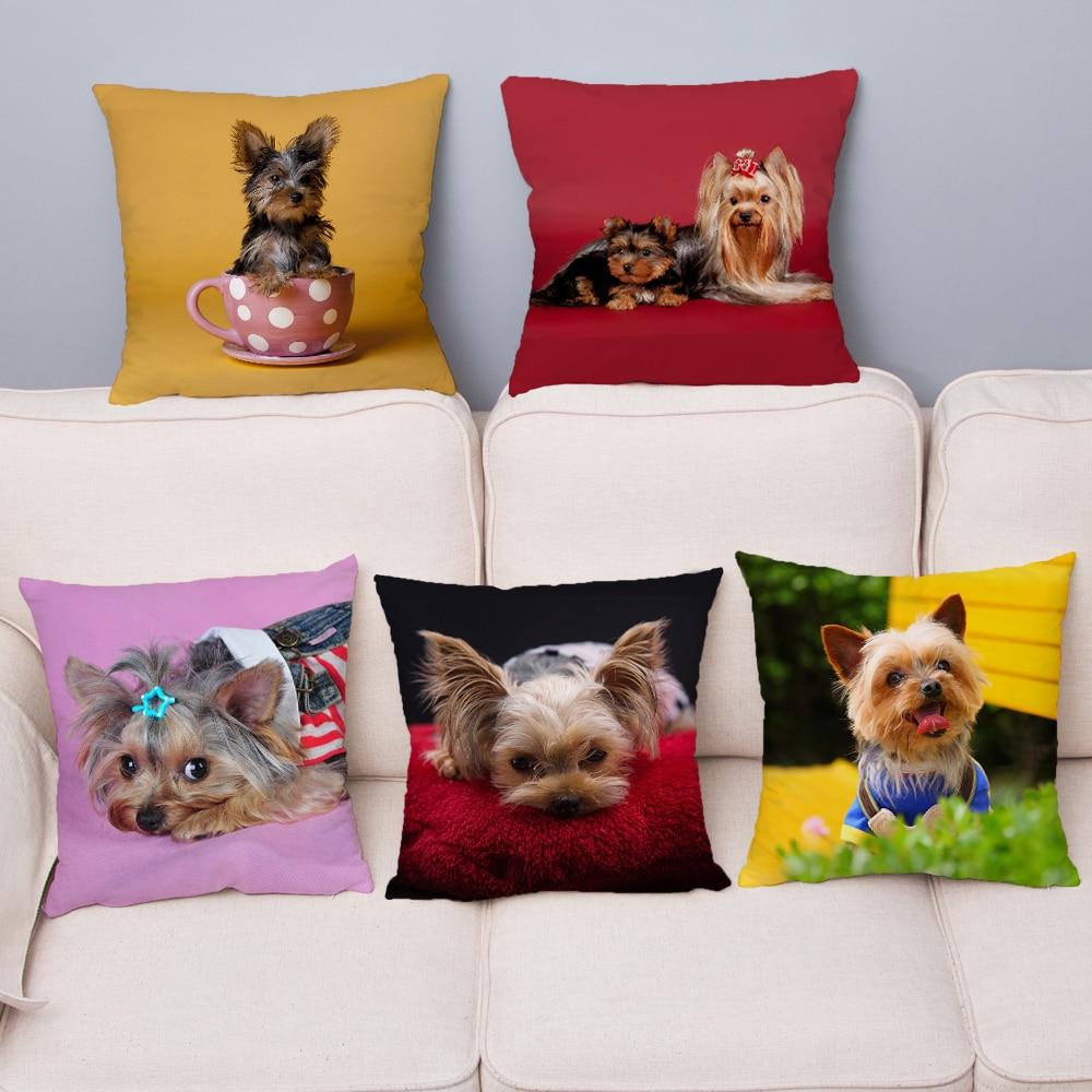 Mini Yorkshire Terrier Dog Pillow Cover 45*45 Cushion Cover Super Soft Short Plush Throw Pillows Case Home Decor Cushion Covers