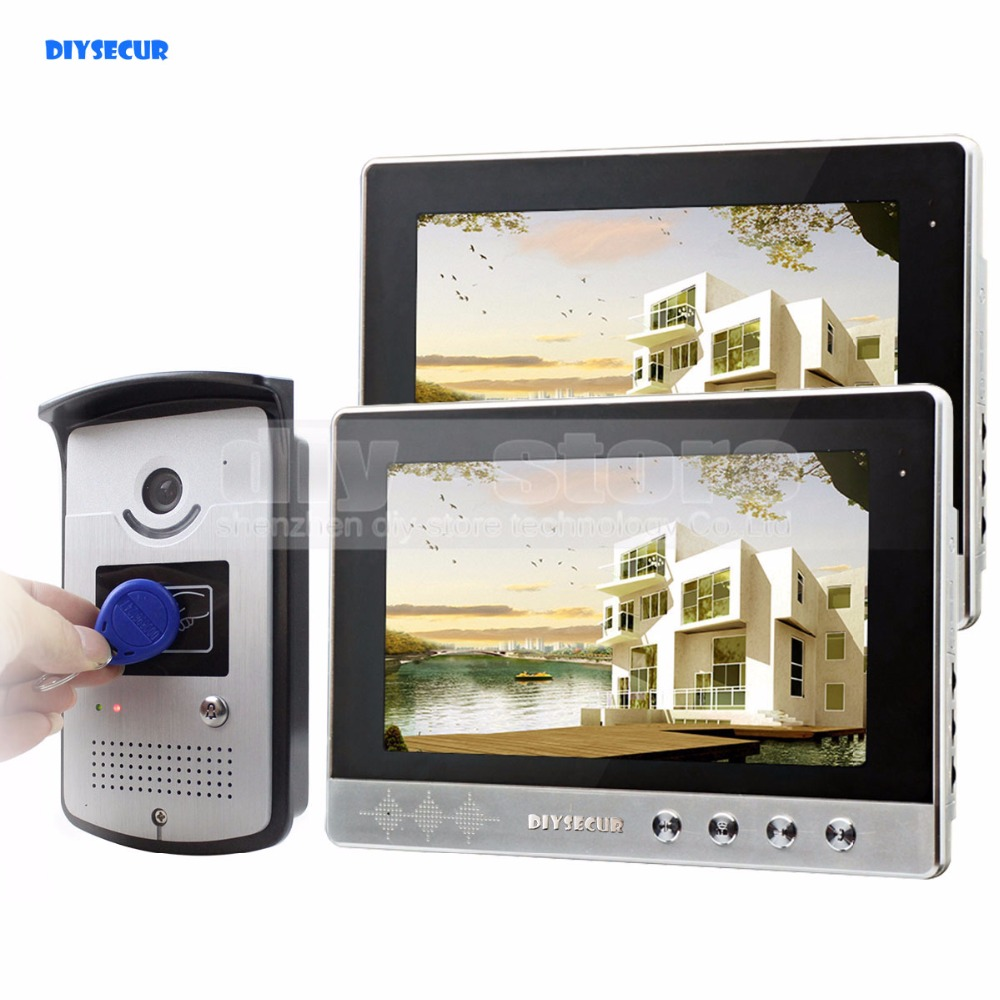 DIYSECUR 10 inch Wired Video Door Phone Doorbell Home Security Intercom System RFID Camera Night Vision 1 Camera 2 monitors ...