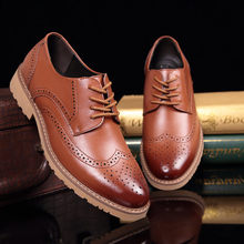 Merkmak 2018 Fashion Brand Men's Business Dress Brogue Shoes For Wedding Party Retro Leather Black Brown Round Toe Oxford Shoes