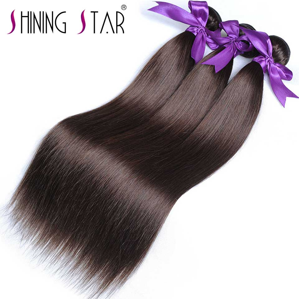 Brazilian Straight Hair Weave Bundles Color 4# Light Brown Human Hair Extensions Shining Star Non-Remy Can Be Dyed 1Pc No Tangle