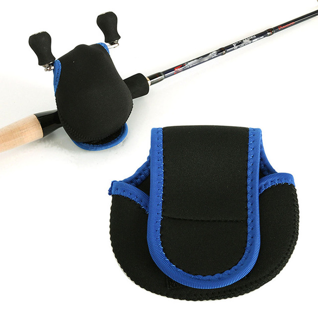 Baitcasting Reel Pouch Shockproof Trolling Fishing Reel Bag Cover Blue