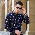 2016 Autumn New Design Casual Grid Mens Shirt  Fashion Plaid Long Sleeve Cotton Dress Shirt