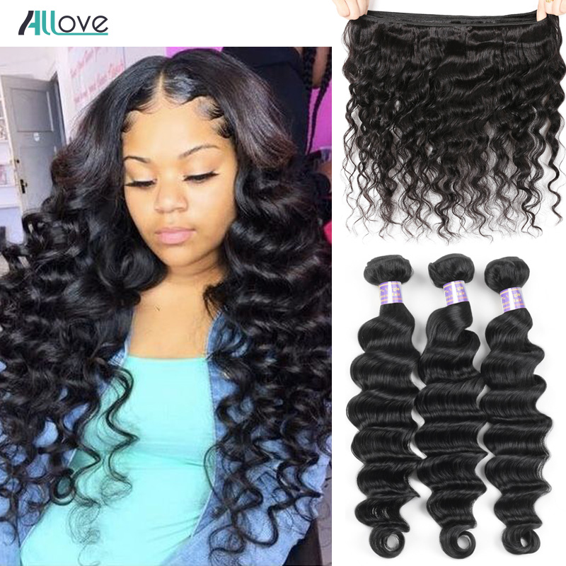 Allove Loose Deep Wave Bundles Peruvian Hair Bundles Human Hair Extensions 1/3/4 Bundles Deals Non Remy Hair Weave Bundles Weft floral chiffon dress long sleeve
