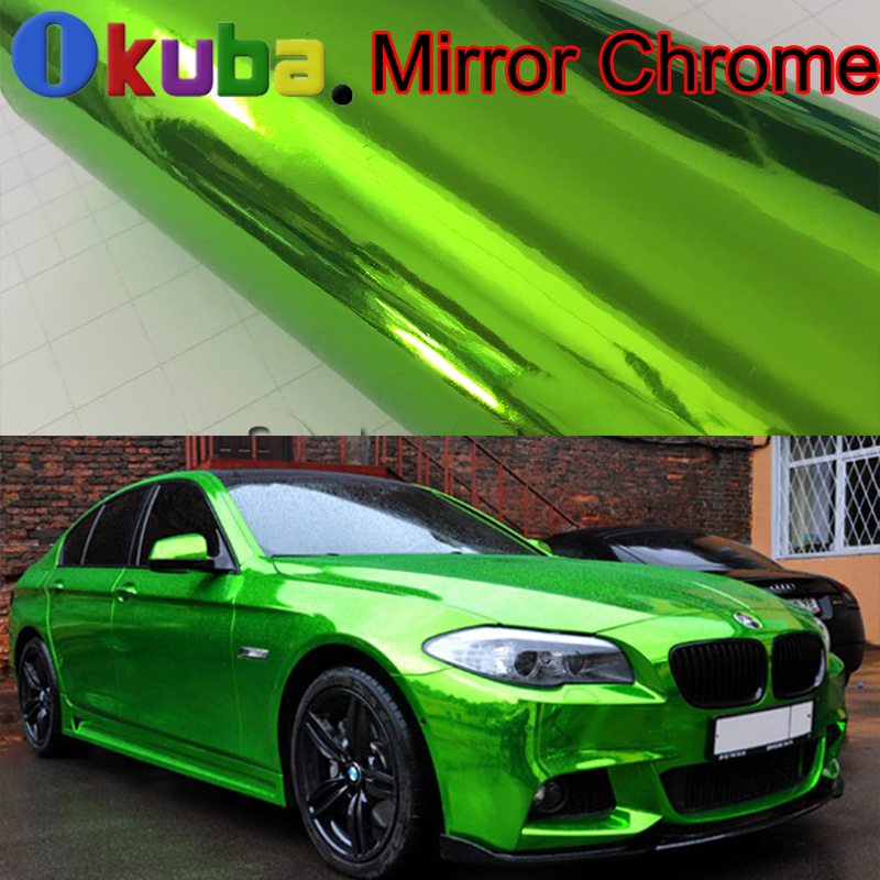 2016 New Arrival Green Chrome Vinyl Wrap Mirror Chrome Film For Car Styling Cover Sticker Air Bubble Free 20m/roll