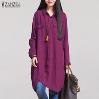 Oversized 2016 Autumn Vintage Lapel Long Shirts Casual Loose Full Sleeve Irregular Blouses Tops Plus Size