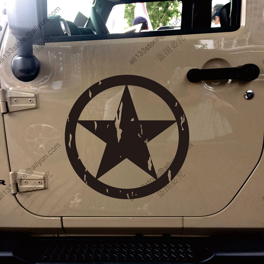 50 x 50cm Car Jeep Decal Sticker Black Distressed Army Military Star Hood Decal