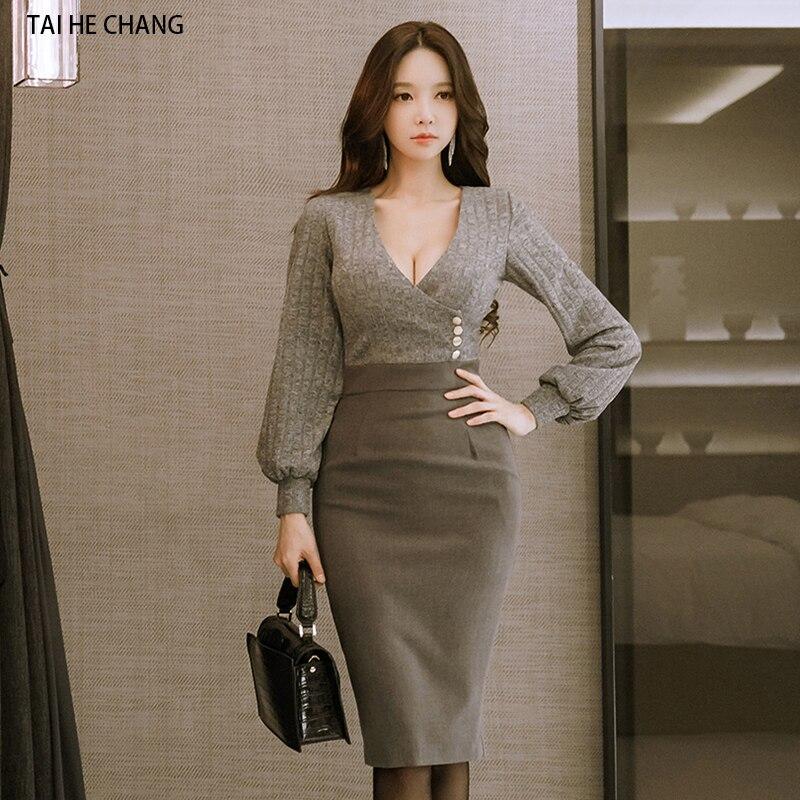 2018 women dress runway autumn winter elegant slim bodycon sexy v neck party long sleeve vestidos pencil office work dress
