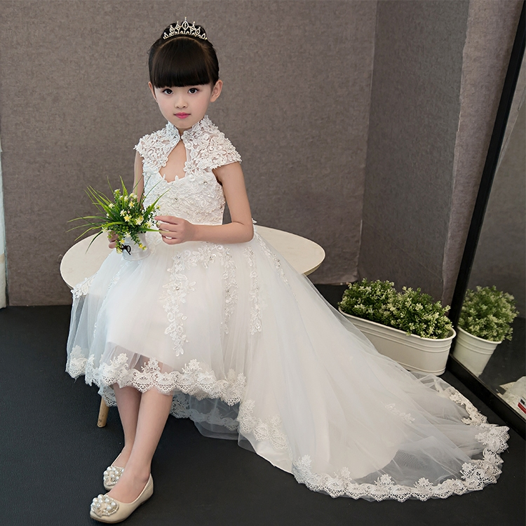 New Arrival 2017 Snow White Princess Lace Dress For Girls Kids Children Wedding Birthday Party Pageant Dress With Beautiful Tail new high quality children girls blue princess lace party dress wedding birthday dress with layers mesh tail kids costume dress