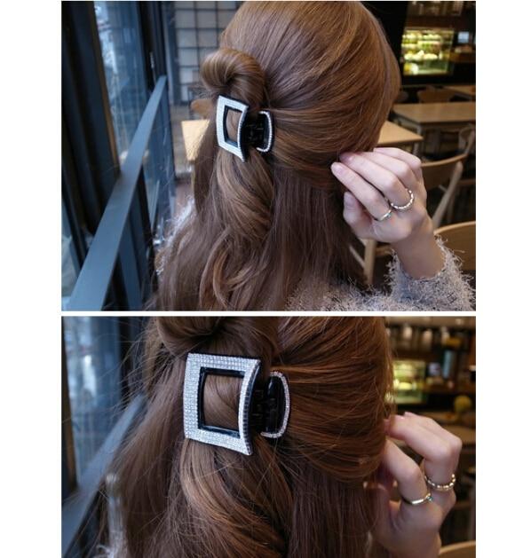Ab White Rhinestone Crystal Hair Pins Rhombus Plastic Dish Hair Clip ... c0b96c593e41