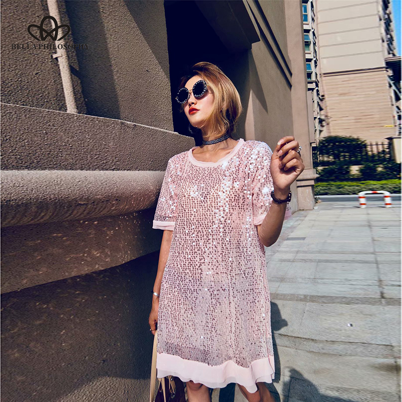 Bella Philosophy 2019 summer sequined elagant women dress short sleeves heavy work ladies vestidos round neck
