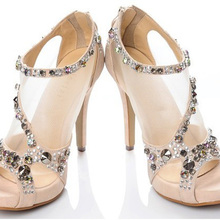 Mode Frauen Kleid schuhe Kristall Sexy Strass Super-high Stiletto Plateau Sandalen Prinzessin 10 cm Leder Heels Schuhe