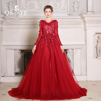 100 Real Photo New Charming 2016 Burgundy Red Open Back Long Sleeves Lace Applique Beading V