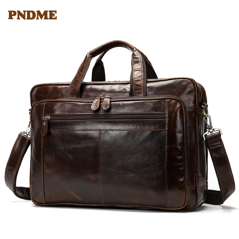 PNDME Men's Genuine Leather 15 Inch Computer Briefcase Vintage Cowhide Leather Luxury Laptop Messenger Bags Business Handbag