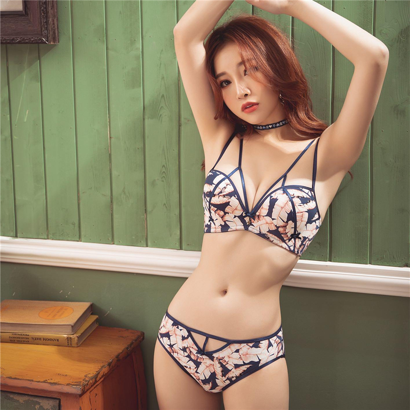 Bra     Brief     Sets   Sexy Underwear Lingerie Sexy Bralette   Bra   Panty   Set   Intimates Female Women Wire Free Push Up Leopard   Bra     Set