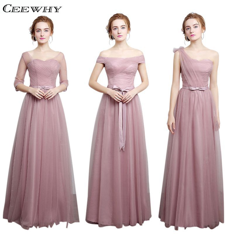 CEEWHY 4 Style Half Sleeves A Line Tulle Elegant 2017 Bridesmaid Dresses Long Wedding Party Dress