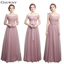 CEEWHY 4 Style Half Sleeves A-Line Tulle Elegant 2017 Bridesmaid Dresses Long Wedding Party Dress Vestido de Festa de Casamento