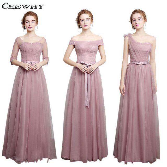 CEEWHY 4 Style Half Sleeves A-Line Tulle Elegant 2017 Bridesmaid Dresses  Long Wedding Party Dress Vestido de Festa de Casamento ec23410396b8