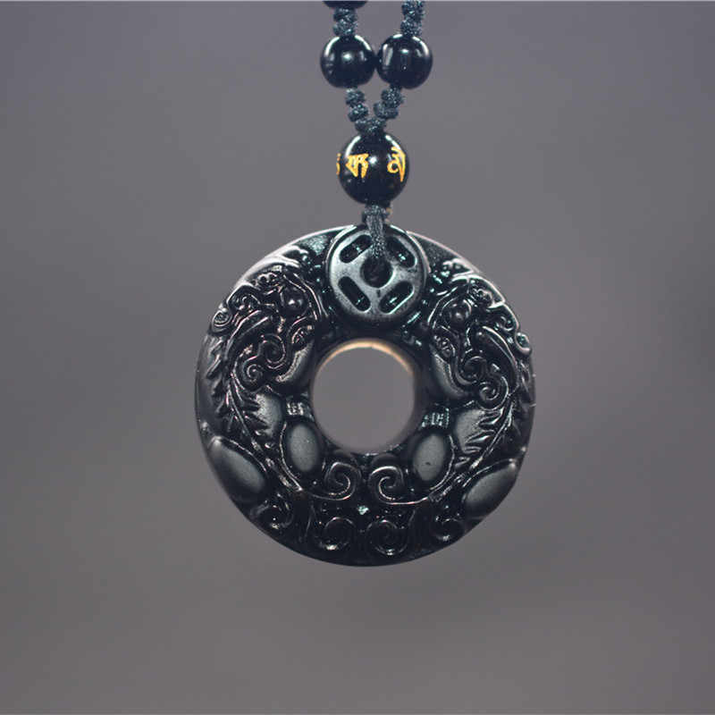 Drop Shipping Obsidian Carving Circle Pixiu Amulet pendant Necklace Jade Pendant Fine Jewelry