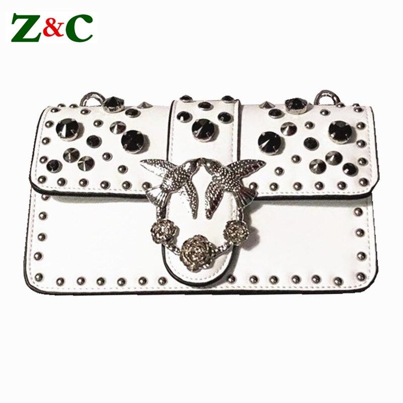 где купить Luxury Brand Women Chain Messenger Bags Leather Swallow Shoulder Bag Pearl Rivet Diamond Lady Famous Designer Handbag Louis Bags по лучшей цене