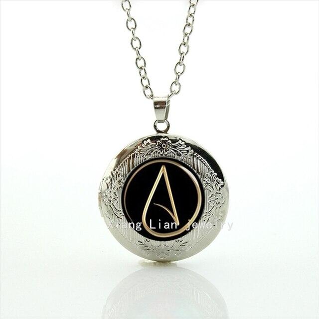 Hot Fashion Glass Dome Locket Necklace Atheist Atom Symbol Atheist