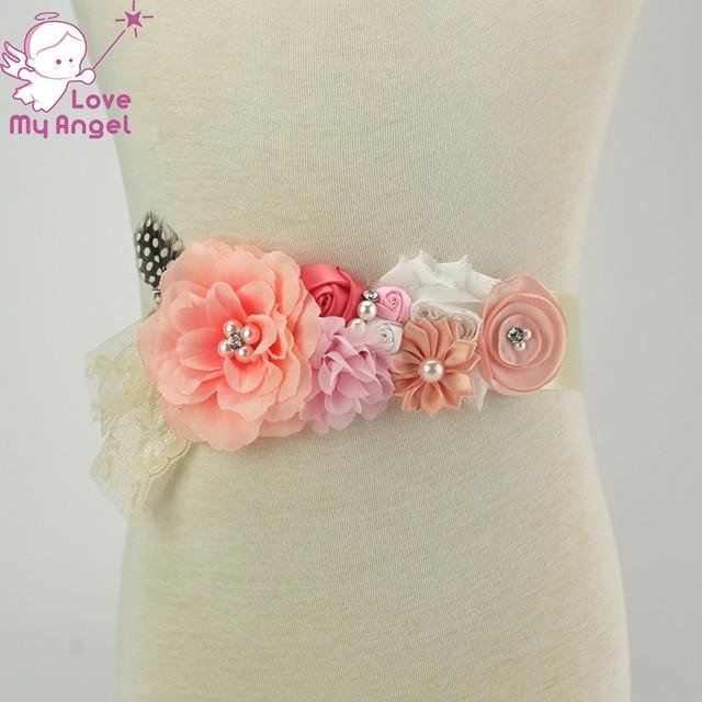 a54bcbc3f61 10pcs lot Vintage coral peach wedding flower girl sash photography prop  Maternity belt prom dress belt