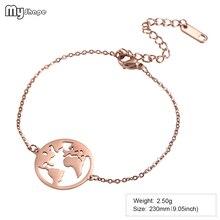 My Shape Stainless Steel Rose Gold Never Fade Bracelet Mascot Souvenir Charm Bangle Chain & Link Bracelets недорго, оригинальная цена