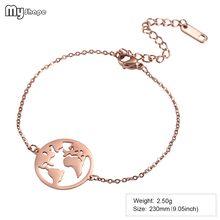 My Shape Stainless Steel Rose Gold Never Fade Map Bracelet Mascot Souvenir Charm Bangle Chain & Link Bracelets