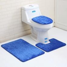 3D Cobblestones Pattern Toilet Rugs Thicken Flannel Bath Mat Set Bathroom Carpets Absorbent WC Room Floor Mats tapis de bain brick wall pattern flannel bathroom floor mat