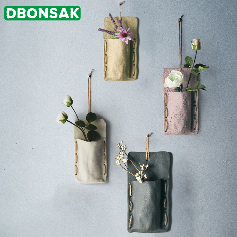 Nordic Plant Wall Mounted Flowerpot Rope Holder String Wall Home Garden Balcony Decor Ceramic Succulent Planter Flower Pot Vase in Flower Pots Planters from Home Garden