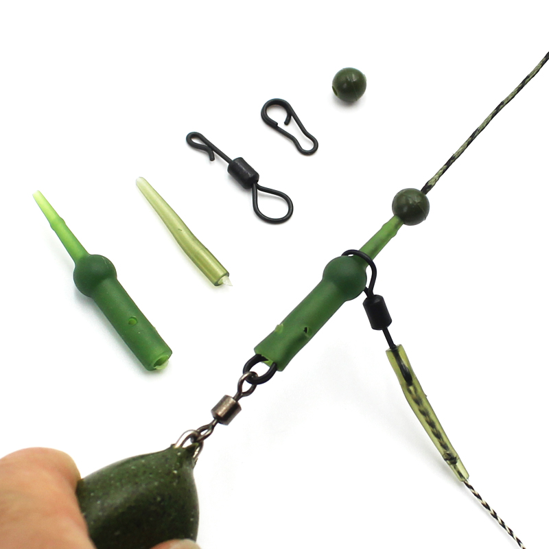 25Pcs Carp Fishing Accessories Set Chod Heli Rig Ring Kit Buffer Sleeve Rolling Swivel Rig Connector Sleeve Rubber Fishing Beads