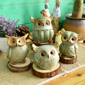 Ceramic Owl Figurines Japanese Rural Style Retro Artificial Handmade Porcelain Animal Statuettes Home Decor Gifts Crafts